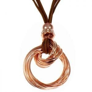 Rose gold colour bead twisted loop pendant brown suede long necklace