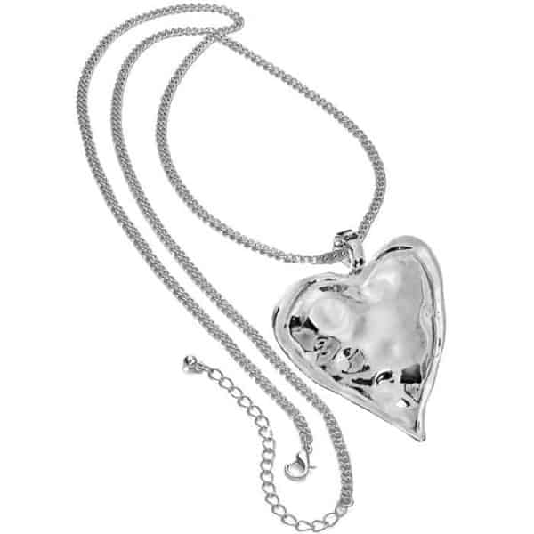 Lagenlook shiny silver large chunky heart pendant on a long necklace