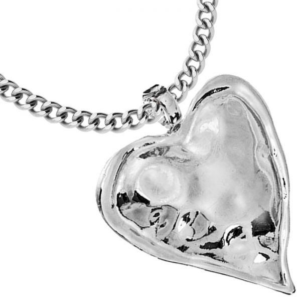 Fashion jewellery large chunky heart pendant on a long fitting necklace