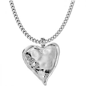 large chunky heart pendant on a long fitting necklace
