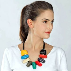 Large rainbow colour rectangle statement cord necklace