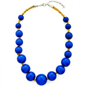 Extra large wooden tribal chunky blue colour bead graduated necklace
