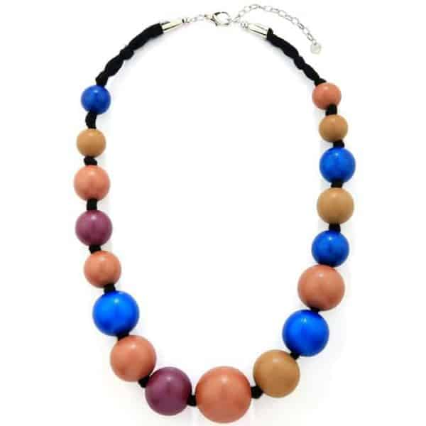 Extra large wooden tribal chunky multicoloured bead graduated necklace