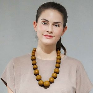 Extra large wooden tribal chunky beige colour bead graduated necklace