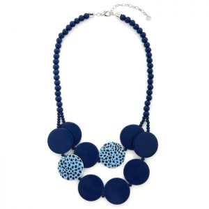 Women's blue leopard print chunky flat circle shape on a beaded wooden necklace