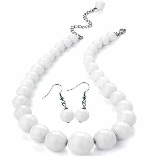Pure white colour graduated bead choker necklace and matching earring