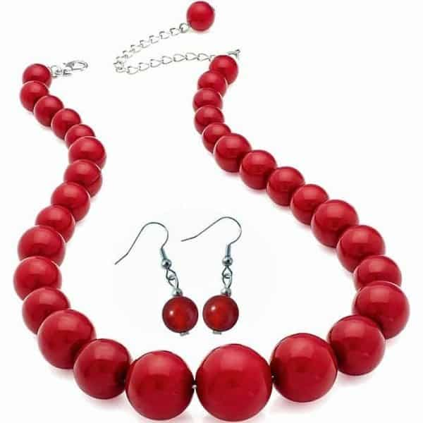 Dark red colour bead choker necklace and matching earrings fashion jewellery set