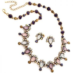 Burnished gold colour with coloured stones choker necklace and earring set