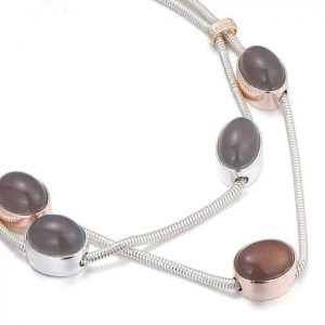 Costume jewellery chunky oval stone silver layered chain choker necklace