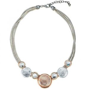 Silver and rose gold chunky round disc and large crystal choker necklace