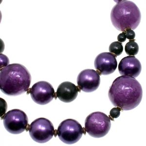 Layered purple colour with a large and medium weighty wooden bead choker necklace