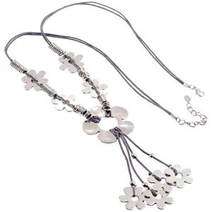 Lagenlook quirky flower silver tone style grey cord long necklace