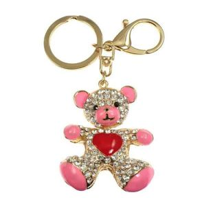 Large enamel pink bear red heart fashion crystal handbag charm or key ring