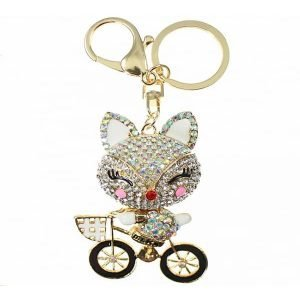 Cute adorable AB crystal 3D gold happy baby bear on bike handbag charm or key ring costume jewellery