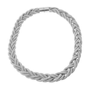 Trendy silver colour braided twisted choker necklace with a magnetic catch