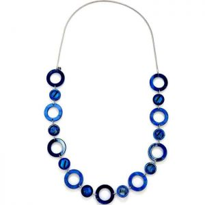 Blue acrylic resin and crystal disc on a silver colour chain long necklace