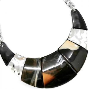 Colourful acrylic resin jewellery with a silver colour collar tribal statement necklace
