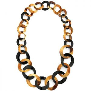 Beautiful graduated multi-textured acrylic brown and black round hoop necklace