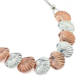 Silver and rose gold colour chunky shell style choker necklace