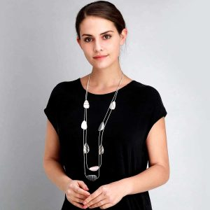 Fashion jewellery pebble stripe design on two strand long silver necklace