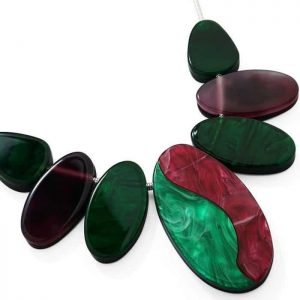Large colourful chunky oval resin style design choker statement necklace