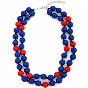 Fashion jewellery double layer blue and red chunky ball bead knotted cord necklace