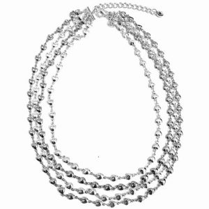 Women's costume jewellery layered silver colour dainty heart charm choker necklace