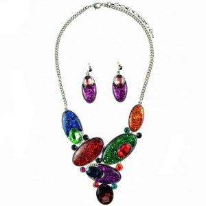 Large chunky rainbow colour statement choker necklace and earring jewellery set
