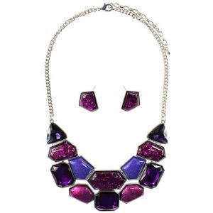 Large chunky colourful style statement choker necklace and earring jewellery set