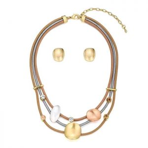 Crystal design leather choker necklace with earring costume jewellery set