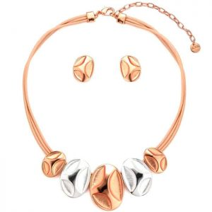 Two tone medallion charms on a short fitting leather beige choker necklace jewellery set