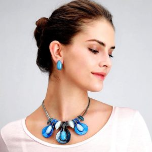 Beautiful blue water droplet design silver choker necklace with earring jewellery set