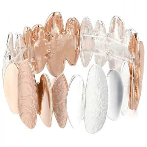 Silver and rose gold colour oblong textured shape elasticated bracelet