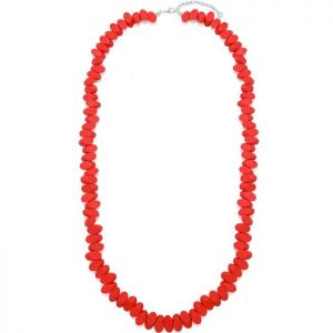 Pastel red colour irregular shaped long fitting necklace made from wood