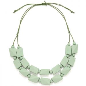 Pastel green bead necklace made from a lightweight wood jewellery design