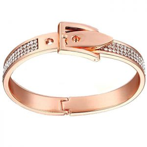Crystal costume jewellery rose gold adjustable buckle bangle