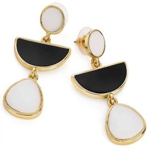 Women's fashion jewellery gold colour black and white dangling stud earrings