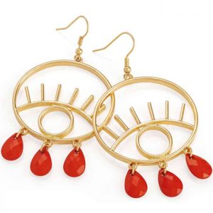 Gold colour red bead large eye design fish hook earrings