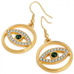 Gold colour round shape fish hook earrings with green crystal eye design