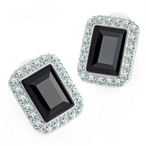 Costume jewellery silver colour crystal & black rectangle design stud earring