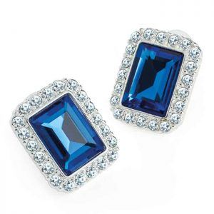 Costume jewellery silver colour crystal & blue rectangle design stud earring