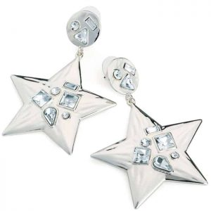 Funky and quirky silver colour crystal star design drop earring