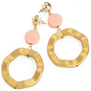 Large funky matt gold colour with pink disc drop fashion jewellery stud earrings