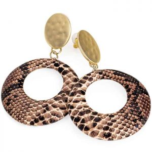 Gold colour with brown snakeskin large round stud fashion jewellery earrings