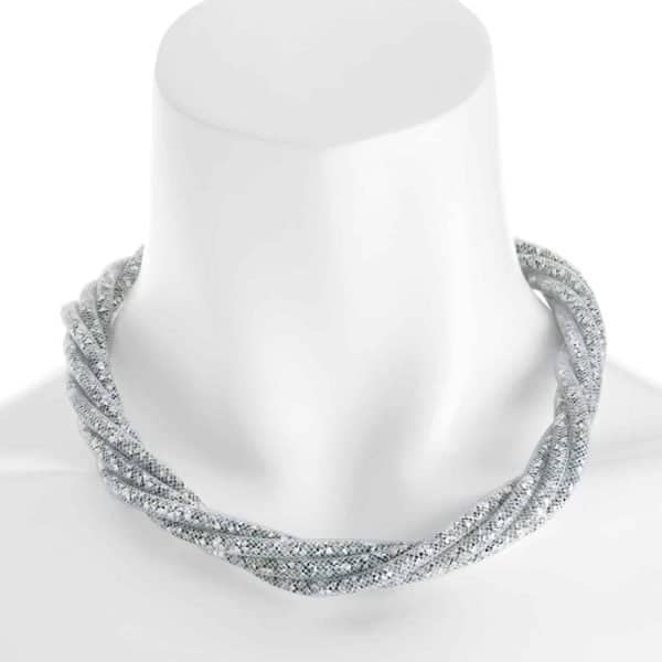 crystal mesh wrap twist rope chain choker necklace