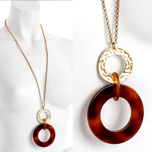 Lagenlook matte gold tone and brown colour large round pendant long necklace