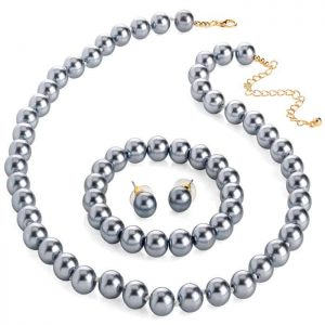 Grey faux pearl bead necklace with elasticated bracelet and earring set