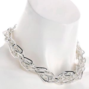Fashion jewellery silver colour two row twisted design metal chain choker necklace
