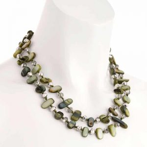 Two row with draping green colour stone and crystal choker necklace