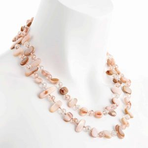 Two row with draping pink colour stone and crystal choker necklace